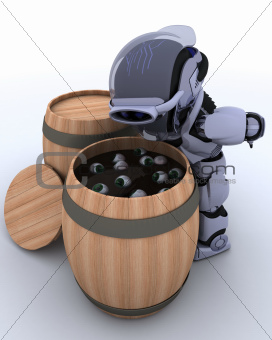 Robot bobbing for eyeballs in a barrel
