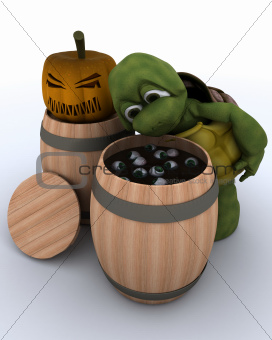 tortoise bobbing for eyeballs in a barrel