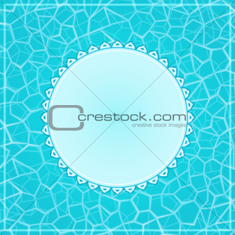 Blue Card with Label and  Water Surface