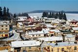 Aerial view of small village in winter, Czech Republic.