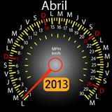 2013 year calendar speedometer car in Spanish. April