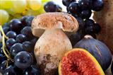 mushroom and fruits