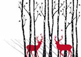 birch trees with christmas deers, vector