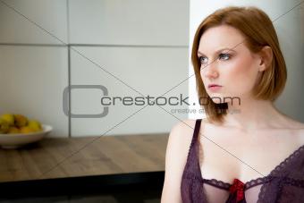 attractive caucasian woman in lingerie