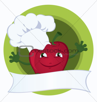 Apple-cartoon-character-with-promo-ribbon