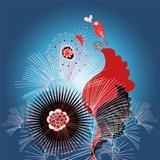 floral card with a love bird