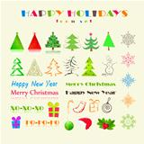 Christmas or New Year Holiday Icon Set