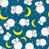 Cute White Sheeps at Night Seamless Pattern