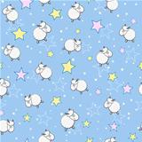 Sheeps in Star Sky Seamless Pattern