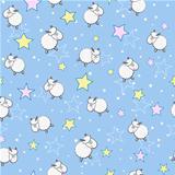 Sheeps in Star Sky Seamless Pattern