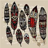 Ethnic Feather vector set.