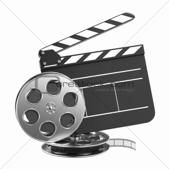 Clapboard and Film Reel with Film.