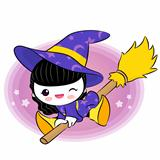 Wee witch flying on broom. Halloween Vector Characters