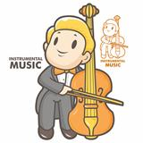The man playing the cello. Instrumental music Vector character