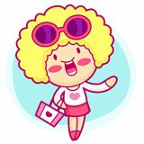 Realize the it girl shopping. Style Girl Vector Character