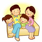 Happy family sitting in couch above. Home Vector Character