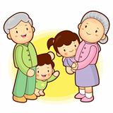 A Grandfather and grandmother taking care of grandchildren granddaughter