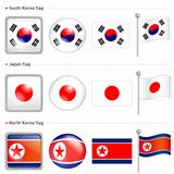 South Korea and North Korea, Japan Flag Icon