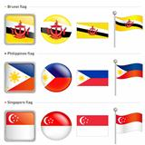 Singapore and Philippines, Brunei Flag Icon