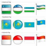 Indonesia and Kazakhstan, Uzbekistan Flag Icon