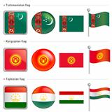 Turkmenistan and Tajikistan, Kyrgyzstan Flag Icon