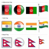 India and Nepal, Afghanistan Flag Icon