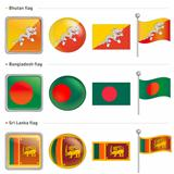 Bangladesh and Sri Lanka, Bhutan Flag Icon