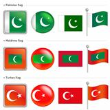 Maldives and Turkey, Pakistan Flag Icon