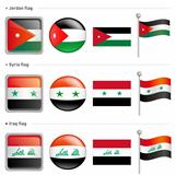Jordan and Syria, Iraq Flag Icon