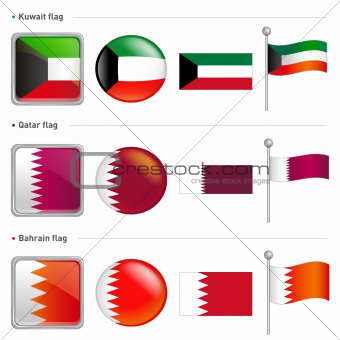 Kuwait and Qatar, Bahrain Flag Icon