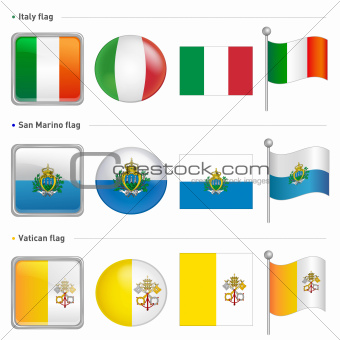 Italy and San Marino, Vatican City Flag Icon
