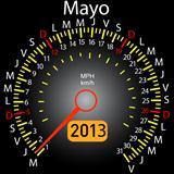 2013 year calendar speedometer car in Spanish. May