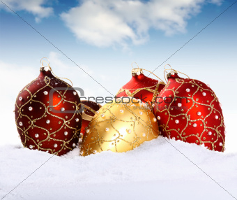 Christmas gold and red bauble