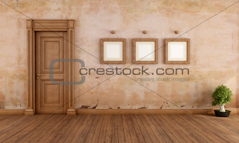 Empty vintage interior with wooden door