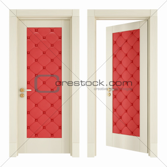 Two classic doors with red upholstery  sc 1 st  Crestock.com & Image 4922072: Two classic doors with red upholstery from Crestock ...