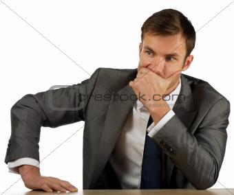 businessman corrects a suit