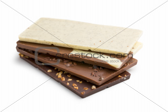 Stack of various chocolate bar