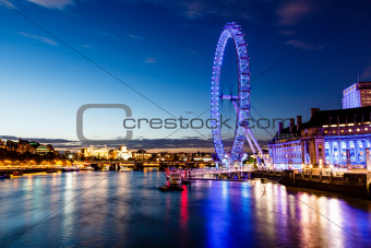 London Eye and London Cityscape in the Night, United Kingdom