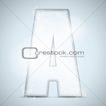 Alphabet Glass Shiny with Sparkles on Background Letter A