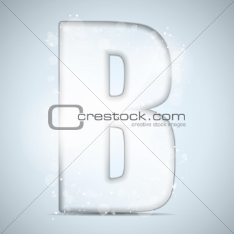 Alphabet Glass Shiny with Sparkles on Background  Letter B
