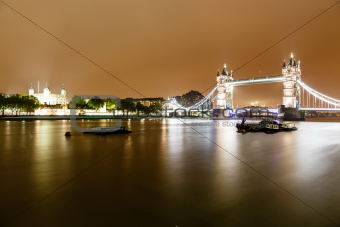 Tower Bridge of London in the Rainy Night, United Kingdom