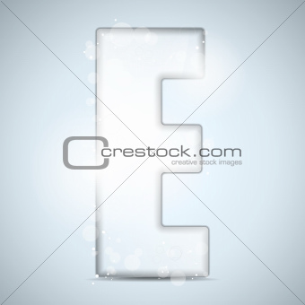 Alphabet Glass Shiny with Sparkles on Background Letter E