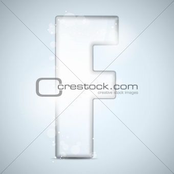 Alphabet Glass Shiny with Sparkles on Background Letter F