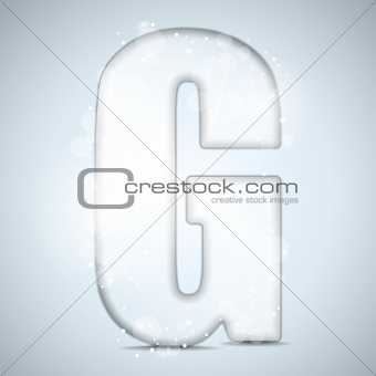Alphabet Glass Shiny with Sparkles on Background Letter G