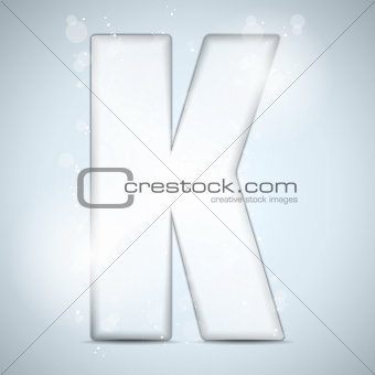 Alphabet Glass Shiny with Sparkles on Background Letter K