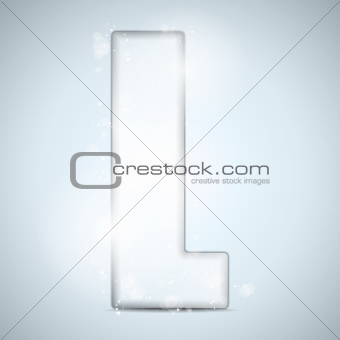 Alphabet Glass Shiny with Sparkles on Background Letter L