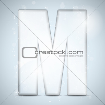 Alphabet Glass Shiny with Sparkles on Background Letter M