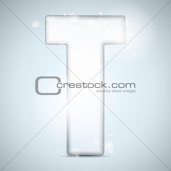 Alphabet Glass Shiny with Sparkles on Background Letter T