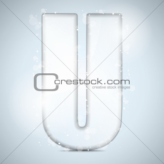 Alphabet Glass Shiny with Sparkles on Background Letter U