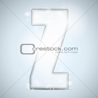 Alphabet Glass Shiny with Sparkles on Background Letter Z